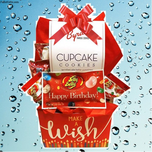 Birthday Gift Basket with Cookies and Candy for Adults and Kids