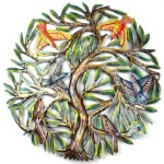 24 inch Painted Tree with Birds - Croix des Bouquets