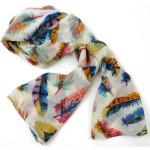 Cream Feather Polyester Scarf - Asha Handicrafts