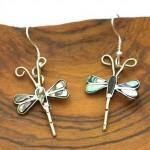 Abalone and Alpaca Silver Dragonfly Earrings - Artisana
