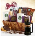 Starbucks Lover: Coffee Gift Basket with Coffee Press