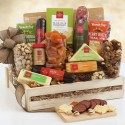 Gourmet Deluxe: Meat & Cheese Wooden Gift Crate