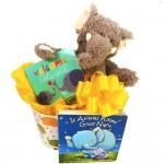 Good Luck Baby Gift Basket with Elephants