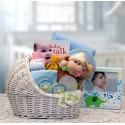 Welcome Baby Bassinet New Baby Basket - Bllue