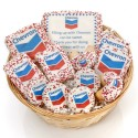 """12- PC Corporate Logo Gift Basket -9"""" Round Willow"""