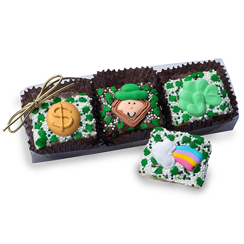 Clear Acrylic Gift Box of 3 St. Patrick's Day Mini Krispies
