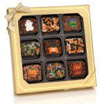 Halloween Chocolate Dipped Mini Crispy Rice Bars- Window Gift Box of 9