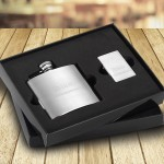 4 oz. Brushed Flask and Lighter Gift Set