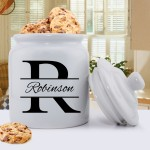 Personalized Mr. & Mrs. Wedding Ring Cookie Jar - Stamped