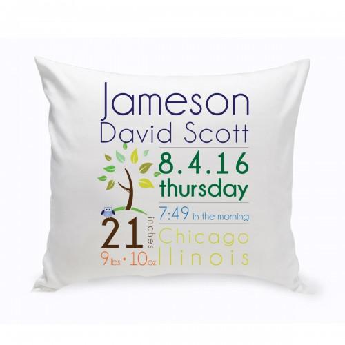 Baby Boy Announcement Throw Pillow