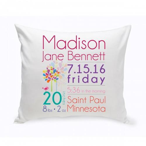 Baby Girl Announcement Throw Pillow