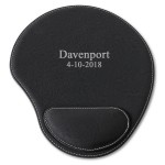 Black Faux Leather Personalized Mouse Pad - 2 lines