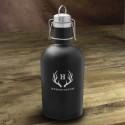 Personalized Stainless Black Matte Growler - Antler