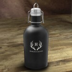 Personalized Stainless Black Matte Growler - Antler