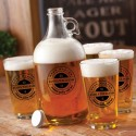Personalized Glass Beer Growler and Pint Glass Set - Brew Master