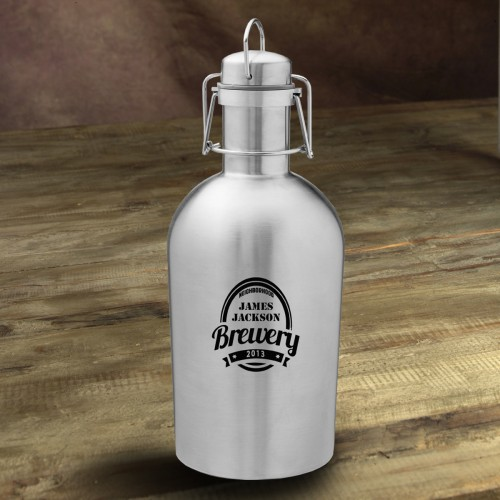 Personalized Stainless Steel Growler - Brewery