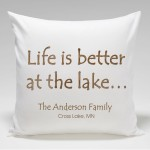 Cabin Throw Pillow-At The Lake
