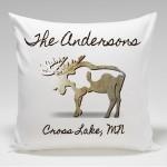 Cabin Throw Pillow-Moose