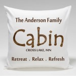 Cabin Throw Pillow-Retreat.Relax.Refresh