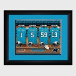Personalized NFL Locker Room Print with Matted Frame - Carolina Panthers