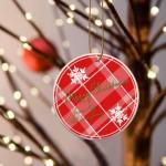 Christmas Ceramic Ornament - Red Plaid