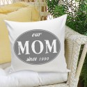 Mom Stamp Throw Pillow - Gray