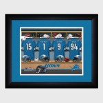 Personalized NFL Locker Room Print with Matted Frame - Detroit Lions