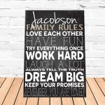 Family Love Rules Canvas Sign