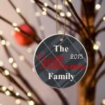 Family Name Ceramic Ornament - Black Plaid