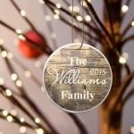 Family Name Ceramic Ornament -  Rustic