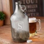 Personalized Gunmetal Beer Growler - Circle