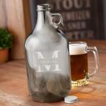 Personalized Gunmetal Beer Growler - Stamped