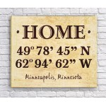 Home Coordinates Canvas Print - Tan Parchment