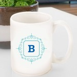 Initial Motif Coffee Mugs - Blue