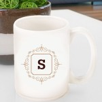 Initial Motif Coffee Mugs - Brown