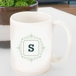 Initial Motif Coffee Mugs - Sage Green
