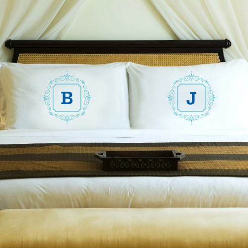 Initial Motif Couples' Pillowcases - Blue