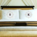 Initial Motif Couples' Pillowcases - Brown