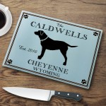 "Personalized ""Cabin"" Series Glass Cutting Boards - Labrador Cutting Board"