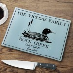 "Personalized ""Cabin"" Series Glass Cutting Boards - Loon Cutting Board"