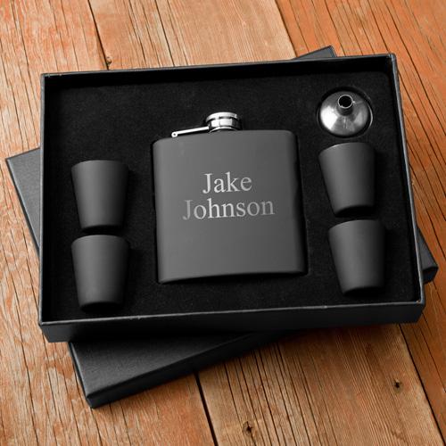 Matte Black Flask & Shot Glass Gift Box Set
