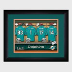 Personalized NFL Locker Room Print with Matted Frame - Miami Dolphins