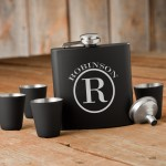Monogrammed Black Matte Flask Gift Set - Circle