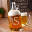 Monogrammed Glass Beer Growler - Modern