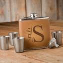 Monogrammed Tan Hide Flask Gift Set - Modern