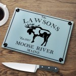 "Personalized ""Cabin"" Series Glass Cutting Boards - Moose Cutting Board"
