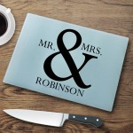 Personalized Glass Cutting Boards - Mr & Mrs Cutting Board