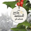Personalized Couples Ceramic Christmas Ornaments - Married