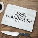 Personalized Family Modern Farmhouse Glass Cutting Board