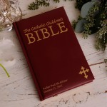 Personalized Laser Engraved Catholic Children's Bible - Maroon